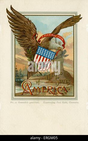 """El águila norteamericana y la estatua de la Libertad, con la estadounidense crest y el lema """"E Pluribus Unum"""" (de muchos, uno). Foto de stock"""