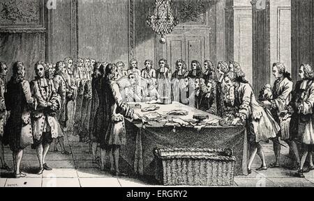 Luis XV, rey de Francia, la celebración de la Junta en persona, por primera vez, en marzo de 1757. Símbolo del poder político sobre la