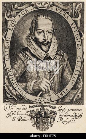 """Sir Walter Raleigh, retrato. Soldado inglés, explorer, cortesano, escritor, 1552-1618. Título dice: """" El verdadero y animado Foto de stock"""