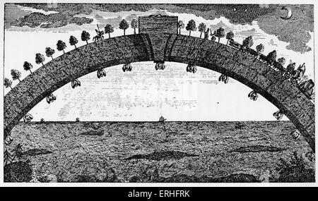 Las sorprendentes aventuras del barón de Munchausen: : El Puente desde África a Gran Bretaña. Puente Arqueado abarca el océano para viajar entre los dos continentes. Rudolf Erich Raspe (1737-1794) y Karl Friedrich Hieronymus, BARÓN (Freiherr von Münchhausen) (1720-1797) . Raspe fue el primer autor que transcribir Munchausen historias de guerra en un libro, que posteriormente fue ampliado por otros escritores. La ilustración original.