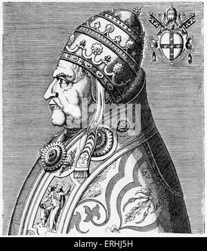 El Papa Pío II - retrato, de perfil, con el escudo de armas. Grabado por Philippe Galle, de la obra 'doctorum virorum de