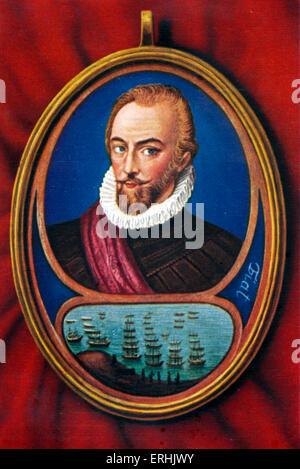 Sir Walter Raleigh. Retrato del soldado inglés, explorer, cortesano y escritor. 1552-1618. Elizabeth I conexión Foto de stock