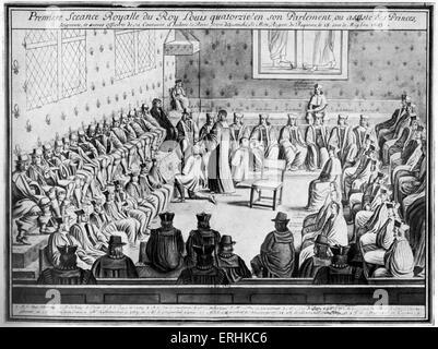 El rey de Francia Luis XIV (1638-1715), presidió la primera reunión / sentado citó del parlamento francés. 1643.