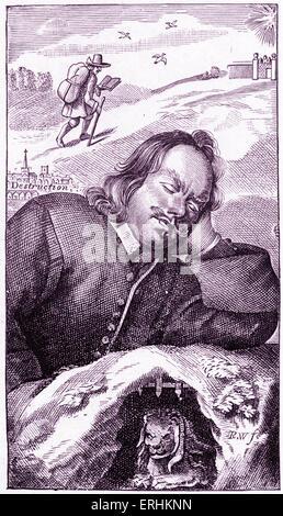 """John Bunyan - frontispicio del escritor inglés 's libro """"El progreso del peregrino"""" (cuarta edición, 1680). """"El Peregrino"""