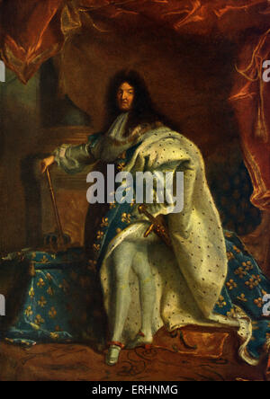 Luis XIV, rey de Francia, después de pintar por Hyacinthe Rigaud, 1701. Original celebrada en El Museo del Louvre, París, Francia. Louis XIV: 5 de septiembre de 1638 - 1 de septiembre de 1715.