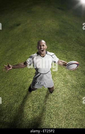 Jugador de rugby masculino calva