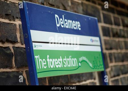 Estación de tren Delamere abrió sus puertas el 22 de junio de 1870. Sirve tanto de la aldea de Delamere y Delamere Forest en Cheshire, Inglaterra Foto de stock