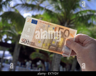 Mano sujetando 50 Euros nota con genéricos de vacaciones soleadas palmeras detrás Foto de stock
