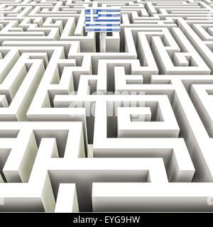 Bandera griega en un complejo laberinto
