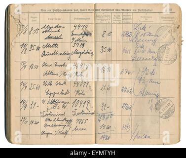 Oficina de Correos alemana antigua libro entrega registrada a partir de 1931, el registro de las entradas y las firmas, Imperio Alemán, Europa