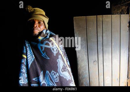 En el reino africano de Lesotho, pueblo basotho desgaste mantas tribales tradicionales en ocasiones especiales. Foto de stock