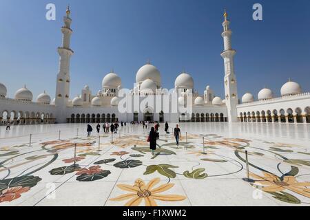 Los Emiratos Árabes Unidos, Abu Dhabi, Al Maqta'a, la Gran Mezquita de Sheikh Zayed Foto de stock