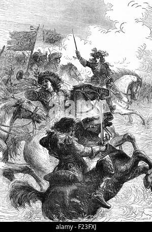 El rey Guillermo III la victoria en la Batalla del Boyne, en el Condado de Meath, Irlanda; donde su ejército luchó esa de Jaime II el 11 de julio de 1690. Fue la última vez que dos coronados los reyes de Inglaterra, Escocia e Irlanda se enfrentaron en el campo de batalla. Foto de stock