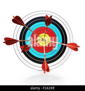 Tres flechas en el centro de la diana. Foto de stock