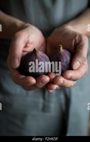 Close-up de manos del hombre sujetando las figs.