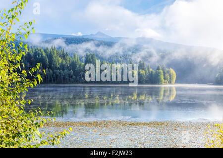 Amanecer brumoso y Scénic reflexiones sobre el lago holandés en Clearwater, British Columbia, Canadá, América del Norte.