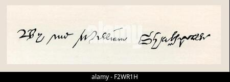 Firma de William Shakespeare, 1564 - 1616. Poeta, dramaturgo inglés, dramaturgo y actor.