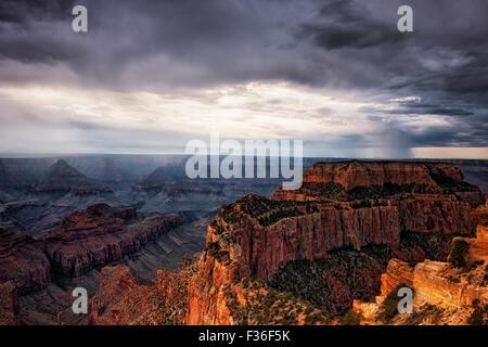 Un breve descanso en sun Wotans trono como nubes de tormenta de verano se desarrollarán a lo largo de la orilla norte de Arizona Grand Canyon National Park.