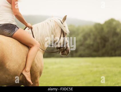 La mujer a caballo en campo