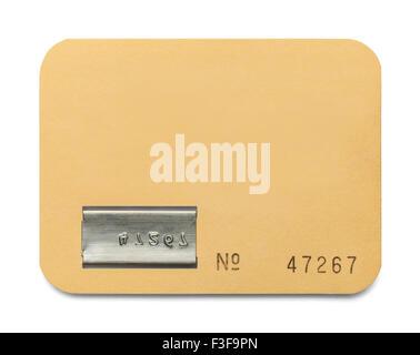Papel con Copia de tarjetas de ID espacio aislado sobre fondo blanco. Foto de stock