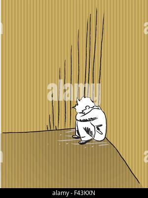 Ilustración de un niño triste