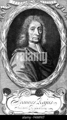 JOHN RAY (1627-1705) naturalista inglés en una xilografía de su libro 1693 Synopsis methodica animalium quadrupedum et serpentini generis