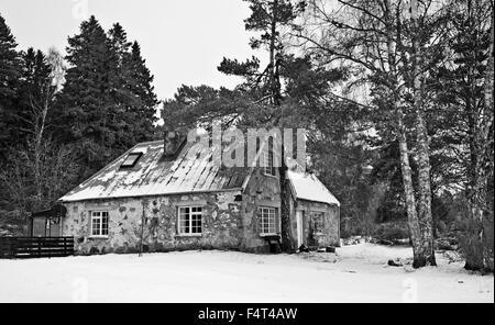Pintoresca casa rústica en la nieve en el bosque en el Rothiemurchus Estate, cerca de Aviemore, los Cairngorms, Highland Escocia UK