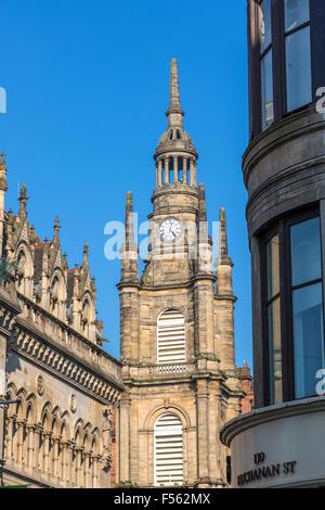 Iglesia de San Jorge Tron Iglesia de Glasgow steeple, Buchanan Street / Nelson Mandela Place, Escocia, Reino Unido
