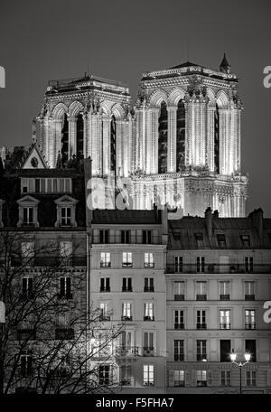 Torres gótico francés de Notre Dame de Paris iluminados durante la noche. Ile de la Cite, 4th arrondissement, París, Francia