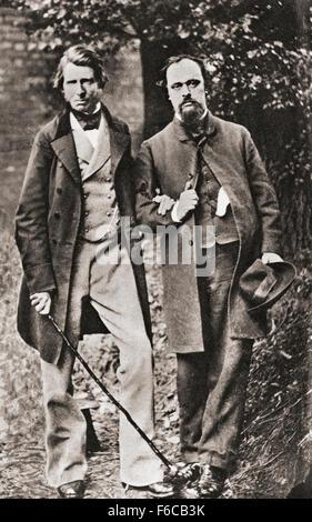 John Ruskin, izquierda, 1819 - 1900. Inglés crítico de arte de la época victoriana, mecenas de arte, dibujante watercolorist, Foto de stock