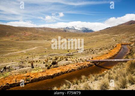 El agua de la Laguna Miluni que es un reservorio alimentados por agua de deshielo glacial del pico andino de Huayna Potosí, en los Andes Bolivianos. Como el cambio climático casuses los glaciares se derriten, el suministro de agua para la Paz, la ciudad capital de Bolivia se seca rápidamente.