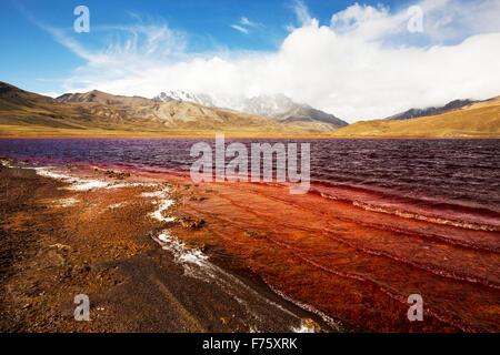 Laguna Miluni es un reservorio alimentados por agua de deshielo glacial del pico andino de Huayna Potosí, en los Andes Bolivianos. Como el clima ch