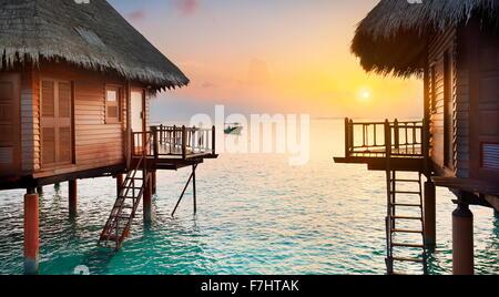 Paisaje Tropical sunset en Islas Maldivas