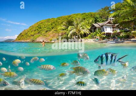 Vista mar submarino en Ko Samet Island Beach, Tailandia, Asia