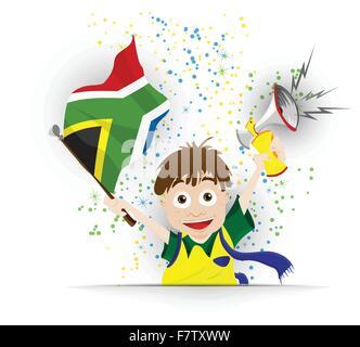 Sudáfrica fútbol cartoon bandera del ventilador Foto de stock