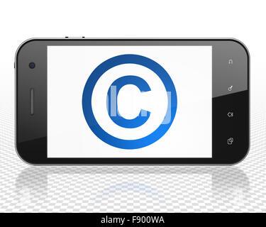 Concepto de Derecho: Smartphone con copyright en la pantalla.
