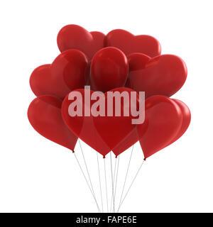 3D Render de colores rojos parte de globos con forma de corazón