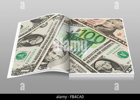 Muchos billetes de dólares de EE.UU. acostado de lado a lado. En el oriente se encuentra una factura de 100 Euros
