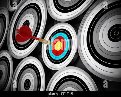 Dart roja golpeó justo en el centro del pequeño objetivo. Concepto de marketing de nicho que significa concentrar todos los esfuerzos de marketing Foto de stock