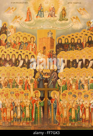 Jerusalén, Israel - Marzo 3, 2015: El icono de la jerarquía del cielo en la Iglesia del Santo Sepulcro por artista desconocido desde el año 1982.