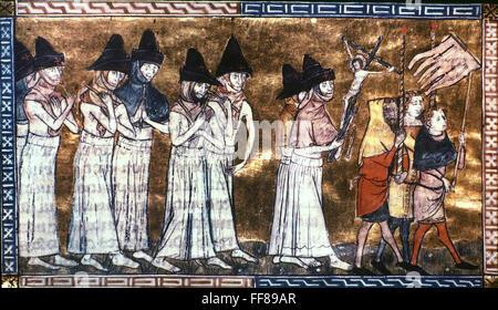 Plaga: FLAGELLANTS. /NProcession de flagellants durante un brote de la Peste Negra: ms flamenca. iluminación, siglo 14.