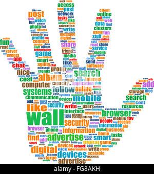 Ilustración del símbolo de mano, que se compone de texto palabras clave en temas de medios sociales. Aislado en blanco Foto de stock