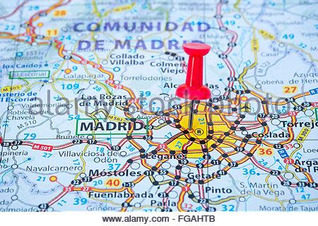 Madrid Capital De España Mapa.Mapa De La Ciudad De Madrid Con Pasador De Mapa Foto