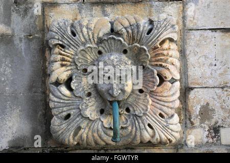 La gran Onofrios Fountain, Main Street, Dubrovnik, del condado de Dubrovnik-Neretva, la costa dálmata, Mar Adriático, Croacia, Balcanes