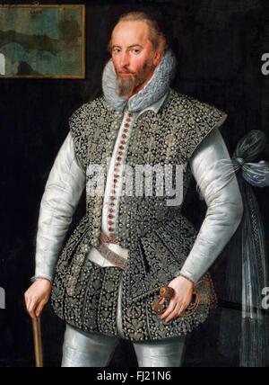 Sir Walter Raleigh (c.1554-1618). Retrato del poeta isabelino, explorador, soldado y marinero, pintado en 1598 por Foto de stock