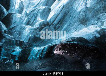 El hielo de los glaciares, la cueva de hielo bajo el Vatnajokull, Hali, Región Sur, Islandia