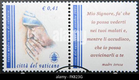 Ciudad del Vaticano: circa 2003: un sello impreso en Ciudad del Vaticano muestra Madre Teresa, circa 2003. Foto de stock
