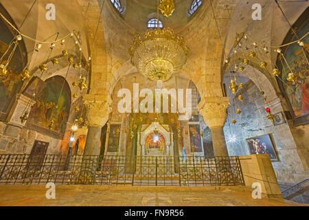 Jerusalén, Israel - Marzo 4, 2015: La capilla ortodoxa de Santa Elena en la Iglesia del Santo Sepulcro.