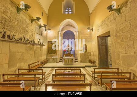 Jerusalén, Israel - Marzo 4, 2015: La capilla católica de la Aparición, en la Iglesia del Santo Sepulcro.