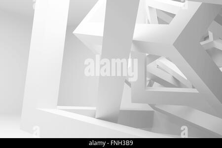 Blanco interior abstracto con caótica construcción de cubos. Ilustración 3d